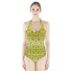 Flower Power Stars Women s Halter One Piece Swimsuit by pepitasart