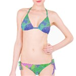 Green Blue Pink Color Splash Bikini Set