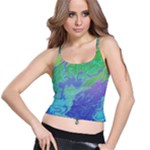 Green Blue Pink Color Splash Spaghetti Strap Bra Top