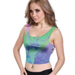 Green Blue Pink Color Splash Crop Top