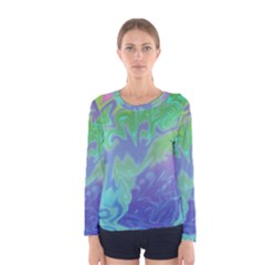 Green Blue Pink Color Splash Women s Long Sleeve Tee by BrightVibesDesign