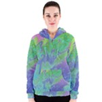 Green Blue Pink Color Splash Women s Zipper Hoodie