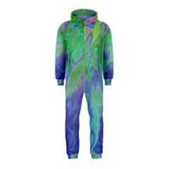 Green Blue Pink Color Splash Hooded Jumpsuit (kids) by BrightVibesDesign