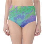 Green Blue Pink Color Splash High-Waist Bikini Bottoms