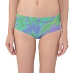 Green Blue Pink Color Splash Mid-Waist Bikini Bottoms