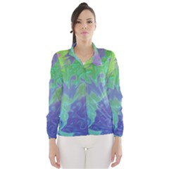 Green Blue Pink Color Splash Wind Breaker (Women) by BrightVibesDesign