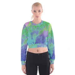 Green Blue Pink Color Splash Women s Cropped Sweatshirt by BrightVibesDesign
