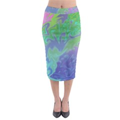 Green Blue Pink Color Splash Midi Pencil Skirt by BrightVibesDesign
