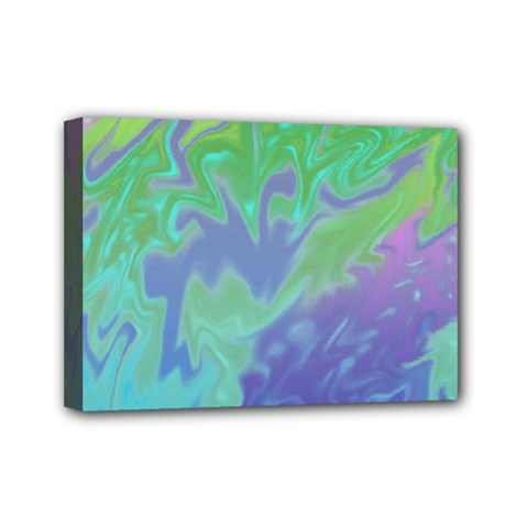Green Blue Pink Color Splash Mini Canvas 7  X 5  by BrightVibesDesign