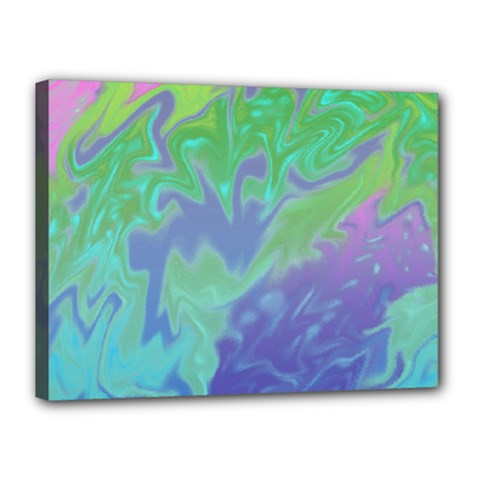 Green Blue Pink Color Splash Canvas 16  X 12  by BrightVibesDesign
