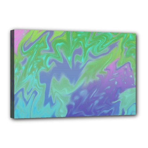 Green Blue Pink Color Splash Canvas 18  X 12  by BrightVibesDesign