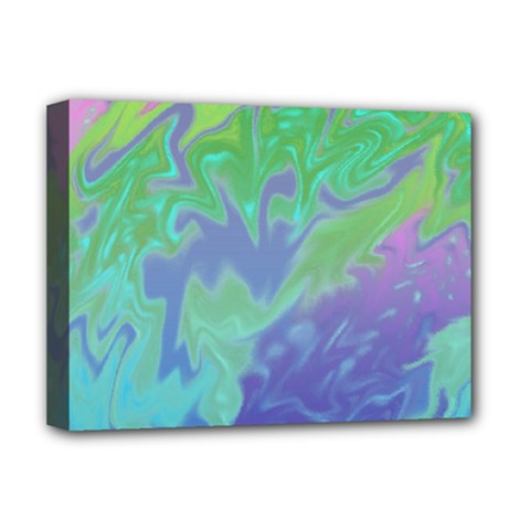 Green Blue Pink Color Splash Deluxe Canvas 16  X 12   by BrightVibesDesign