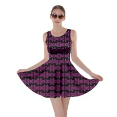 Pink Black Retro Tiki Pattern Skater Dress by BrightVibesDesign