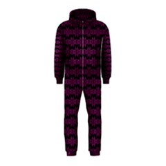 Pink Black Retro Tiki Pattern Hooded Jumpsuit (kids) by BrightVibesDesign