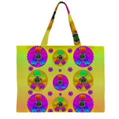 Floral Love And Why Not In Neon Large Tote Bag by pepitasart