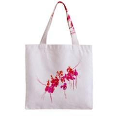 Minimal Floral Print Zipper Grocery Tote Bag by dflcprints
