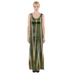 Green Brown Zigzag Maxi Thigh Split Dress by BrightVibesDesign