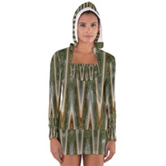 Green Brown Zigzag Women s Long Sleeve Hooded T Shirt by BrightVibesDesign