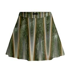 Green Brown Zigzag Mini Flare Skirt