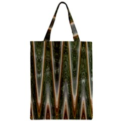 Green Brown Zigzag Zipper Classic Tote Bag by BrightVibesDesign