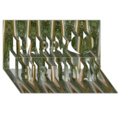 Green Brown Zigzag Happy Birthday 3d Greeting Card (8x4)