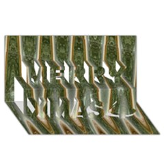 Green Brown Zigzag Merry Xmas 3d Greeting Card (8x4)  by BrightVibesDesign