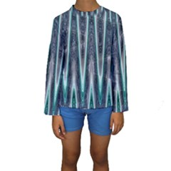 Blue Turquoise Zigzag Pattern Kid s Long Sleeve Swimwear by BrightVibesDesign