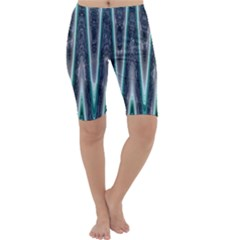 Blue Turquoise Zigzag Pattern Cropped Leggings