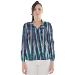 Blue Turquoise Zigzag Pattern Wind Breaker (women) by BrightVibesDesign