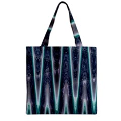 Blue Turquoise Zigzag Pattern Grocery Tote Bag by BrightVibesDesign