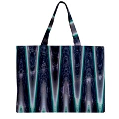 Blue Turquoise Zigzag Pattern Zipper Mini Tote Bag by BrightVibesDesign