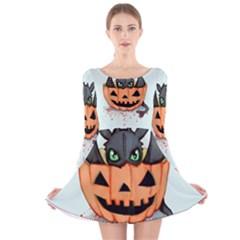 Halloween Dragon Long Sleeve Velvet Skater Dress by lvbart