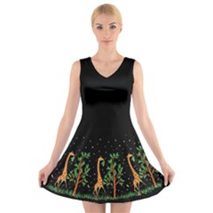 Retro Giraffe - Black Trim V-Neck Sleeveless Dress by Ellador