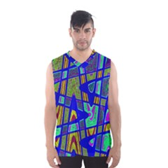 Bright Blue Mod Pop Art  Men s Basketball Tank Top by BrightVibesDesign