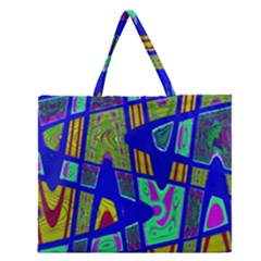 Bright Blue Mod Pop Art  Zipper Large Tote Bag by BrightVibesDesign