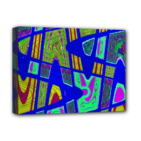 Bright Blue Mod Pop Art  Deluxe Canvas 16  X 12   by BrightVibesDesign