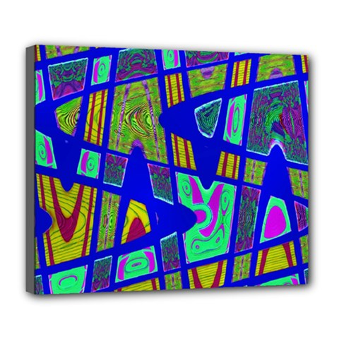 Bright Blue Mod Pop Art  Deluxe Canvas 24  X 20   by BrightVibesDesign