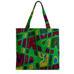 Bright Green Mod Pop Art Zipper Grocery Tote Bag by BrightVibesDesign