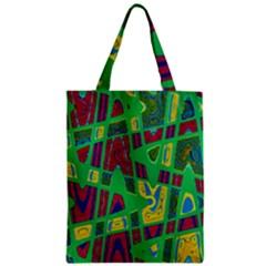 Bright Green Mod Pop Art Zipper Classic Tote Bag by BrightVibesDesign