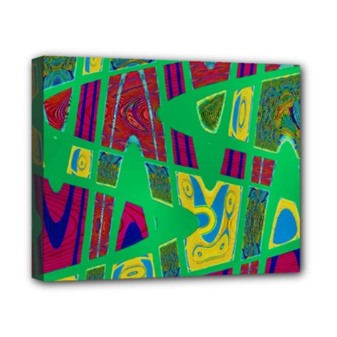Bright Green Mod Pop Art Canvas 10  X 8  by BrightVibesDesign