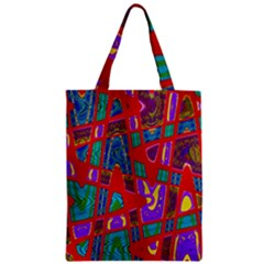Bright Red Mod Pop Art Zipper Classic Tote Bag by BrightVibesDesign