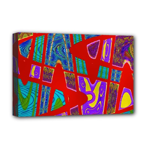 Bright Red Mod Pop Art Deluxe Canvas 18  X 12   by BrightVibesDesign