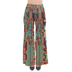 Brown Green Texture             Women s Chic Palazzo Pants