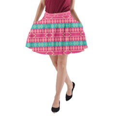 Pink blue rhombus pattern                               A-Line Pocket Skirt by LalyLauraFLM