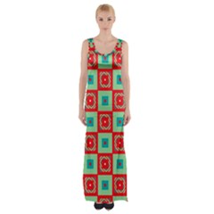 Blue Red Squares Pattern                                Maxi Thigh Split Dress by LalyLauraFLM