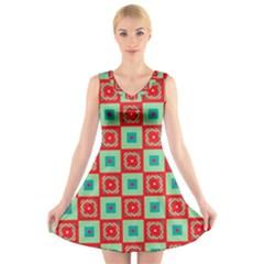 Blue Red Squares Pattern                            V Neck Sleeveless Dress