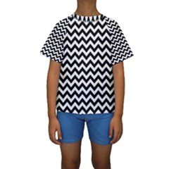 Black & White Zigzag Pattern Kid s Short Sleeve Swimwear by Zandiepants