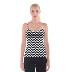 Black & White Zigzag Pattern Spaghetti Strap Top by Zandiepants