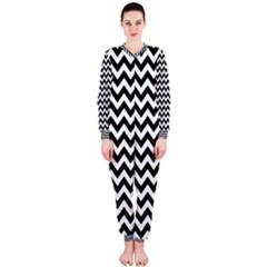 Black & White Zigzag Pattern Onepiece Jumpsuit (ladies)  by Zandiepants