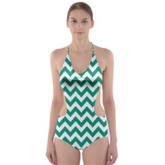 Emerald Green & White Zigzag Pattern Cut Out One Piece Swimsuit by Zandiepants